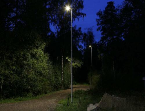 Bases for street light at floodlit trail