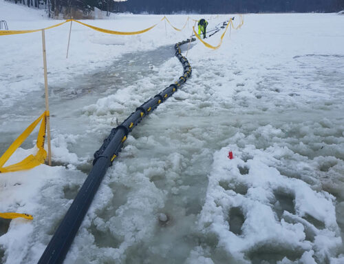 Snap Panzar™ cable protection installed over ice at the archipelago of Stockholm